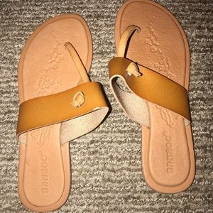Barely Worn Brown Leather Bamboo Sandals Size 7